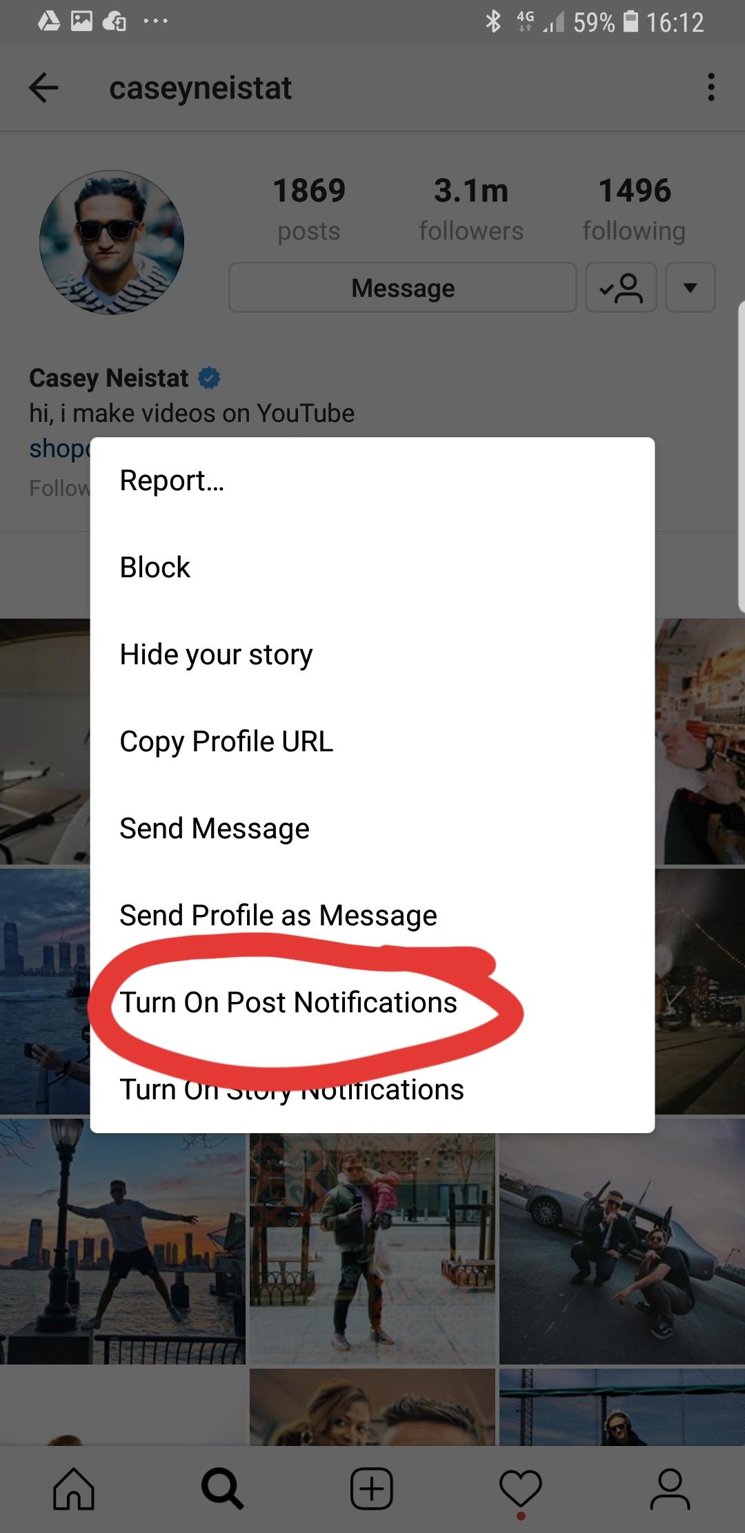 turn on post notifications on Instagram